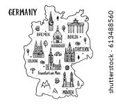 handdrawn map of germany with... | Shutterstock .eps vector #613488560