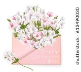 mothers day greeting card with... | Shutterstock .eps vector #613490030