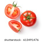 Fresh tomatoes on white...