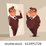 fat man office worker character ... | Shutterstock .eps vector #613491728
