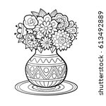 Vase Of Flowers With Geometric...