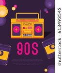 poster music of the 90s and 80s.... | Shutterstock .eps vector #613493543