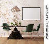 mock up poster in the interior... | Shutterstock . vector #613493894