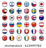 set of flags of the world ... | Shutterstock .eps vector #613499783
