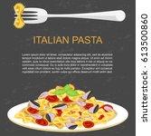 template of italian farfalle... | Shutterstock .eps vector #613500860