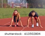 young sport couple in starting... | Shutterstock . vector #613502804