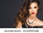 sexy brunette woman with red... | Shutterstock . vector #613505168