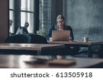 full concentration at work.... | Shutterstock . vector #613505918