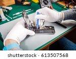close up hands of a service...   Shutterstock . vector #613507568
