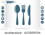 fork spoon knife icon vector... | Shutterstock .eps vector #613509254
