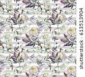 watercolor elegant seamless... | Shutterstock . vector #613513904
