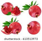 pomegranate isolated on white... | Shutterstock . vector #613513973