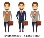 businessman in suit and tie... | Shutterstock .eps vector #613517480