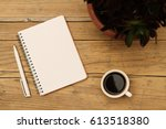 coffee cup  notepad  pen and... | Shutterstock . vector #613518380