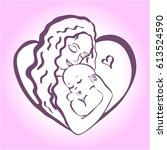 mom and baby stylized symbol... | Shutterstock .eps vector #613524590