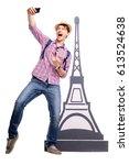 travel concept. full length... | Shutterstock . vector #613524638