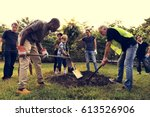 group of diverse people digging ... | Shutterstock . vector #613526906