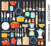 kitchen utensils set.... | Shutterstock .eps vector #613527644