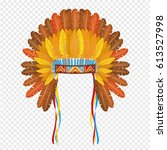 indian headdress with feathers... | Shutterstock .eps vector #613527998