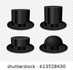 black cylinder hats isolated on ... | Shutterstock .eps vector #613528430