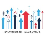 arrows up isolated  many... | Shutterstock .eps vector #613529576