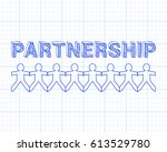 partnership text hand drawn... | Shutterstock .eps vector #613529780