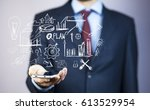 businessman hand phone with... | Shutterstock . vector #613529954