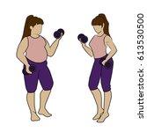 vector flat illustration fat... | Shutterstock .eps vector #613530500