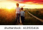 little boy and girl in the... | Shutterstock . vector #613531616