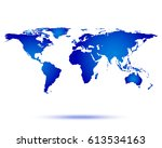 world map with shadow vector... | Shutterstock .eps vector #613534163