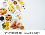 breakfast table setting with... | Shutterstock . vector #613534394
