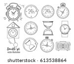 set of doodle sketch watches.... | Shutterstock .eps vector #613538864
