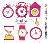 set of doodle sketch watches.... | Shutterstock .eps vector #613538870