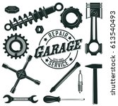 vintage mechanic tools set with ... | Shutterstock .eps vector #613540493