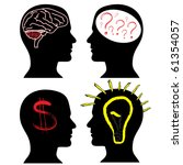 set of silhouettes with a brain ... | Shutterstock .eps vector #61354057