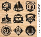 black vintage sport bar labels... | Shutterstock .eps vector #613540583