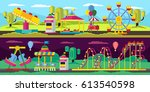 amusement park horizontal... | Shutterstock .eps vector #613540598