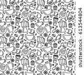 seamless pattern for coffee... | Shutterstock .eps vector #613544804