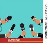flat design style journalism... | Shutterstock .eps vector #613545914