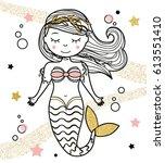 cute mermaid character in hand... | Shutterstock .eps vector #613551410