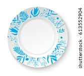 white plate with floral... | Shutterstock .eps vector #613552904