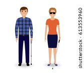disability people concept.... | Shutterstock .eps vector #613553960