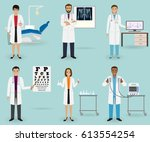 medical treatment set with... | Shutterstock .eps vector #613554254