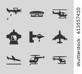aircraft icons set. set of 9... | Shutterstock .eps vector #613557410