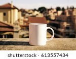 white coffee cup with copy... | Shutterstock . vector #613557434
