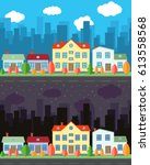 vector city with four cartoon... | Shutterstock .eps vector #613558568