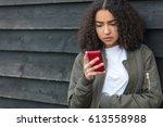 outdoor portrait of beautiful... | Shutterstock . vector #613558988