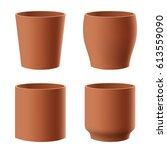 set of realistic isolated brown ... | Shutterstock . vector #613559090