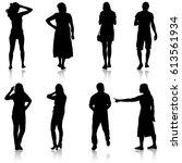 set black silhouettes of... | Shutterstock .eps vector #613561934