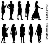 set black silhouettes of... | Shutterstock .eps vector #613561940